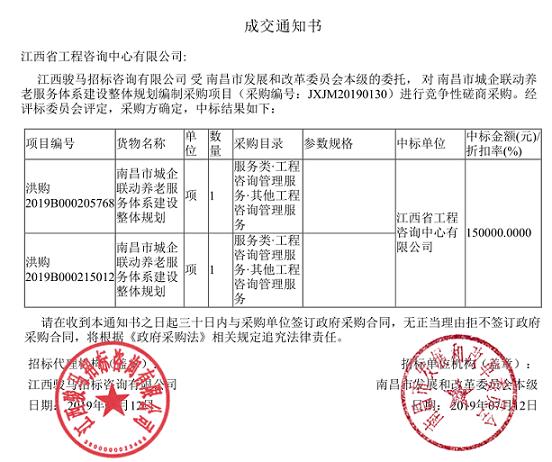 公司成功中标《南昌市城企联动养老服务体系建设整体规划》编制项目